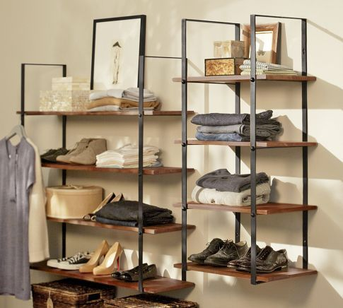 no-closet-organizing-ideas-potterybarn-shelf-rack